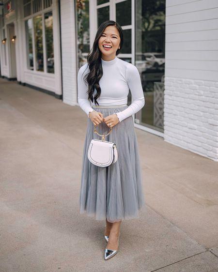 White mock neck long sleeve bodysuit + light grey blue tulle midi skirt + white Chloe Nile dupe + silver pumps. @liketoknow.it http://liketk.it/2IxdC #liketkit #LTKunder50 #LTKholidaystyle  NYE outfit, winter style, party outfit