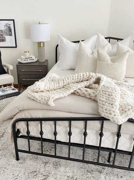 H O M E \ cozy neutral bed🤍  #bed #bedding #bedroom #bedroomdecor #farmhouse #walmart #walmarthome  #LTKhome #LTKunder100