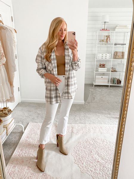 Plaid shacket on sale styled with a double lined bodysuit (medium) and cropped white jeans   #LTKSale