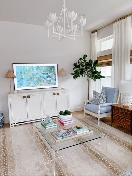 Our bright and airy living room! We love our Samsung frame TV! It has been such a great investment!     #LTKhome