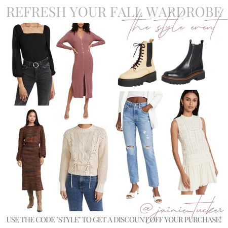 Last day for The Style Event via Shopbop. Use the code STYLE for a discount off your purchase! | #salealert #falloutfit #workwear #workoutfit #dinneroutfit #sweaterdress #combatboots #sweaters #fallsweaters #knittedsweaters #bestsellers #salealert #JaimieTucker  #LTKstyletip #LTKworkwear #LTKSeasonal