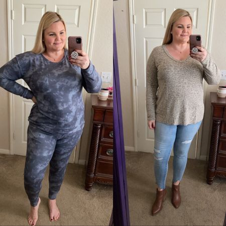 Grace and Lace new fall arrivals! Grey tie dye butter soft lounge set fits true to size, wearing XL. Faded leopard longer top and distressed shark bite hem jeggings. Everything fits true to size. Save 15% with code EMILY15.   #LTKunder100 #LTKcurves #LTKHoliday