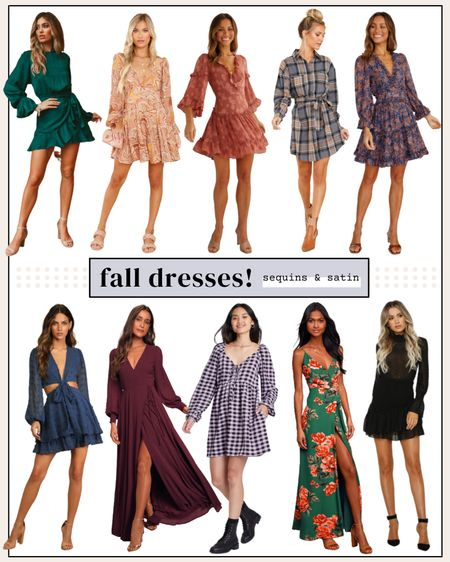 Cute fall dresses for all different occasions! All super affordable too🙌 #weddingguestdresses #falldresses #homecomingdresses #dresses #falloutfits   #LTKstyletip #LTKSeasonal #LTKunder100