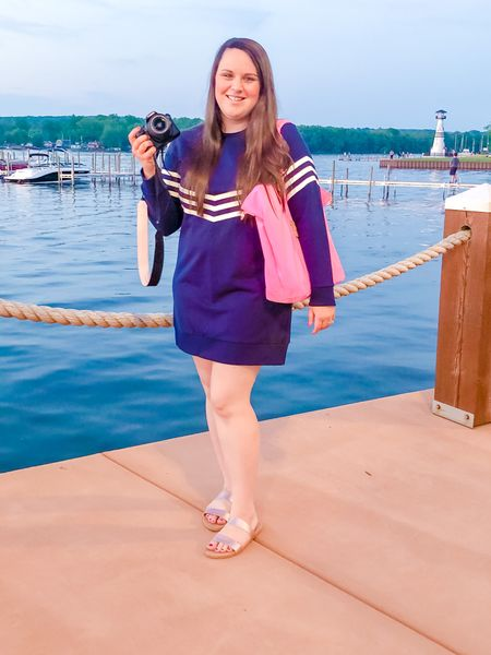 This navy & white classic dress is PERFECT for moving into Fall! It's a lightweight sweatshirt material; you could easily pair it with sandals and then with boots!💕   #LTKstyletip #LTKcurves #LTKitbag