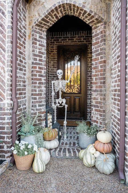 Halloween decor, 5' posable skeleton, fall front porch, faux concrete lightweight planters, doormat, fall decor, home decor, porch   #LTKSeasonal #LTKhome