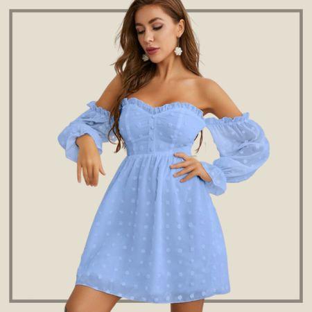 Off shoulder frill trim swing dress  #LTKstyletip #LTKunder50 #LTKunder100