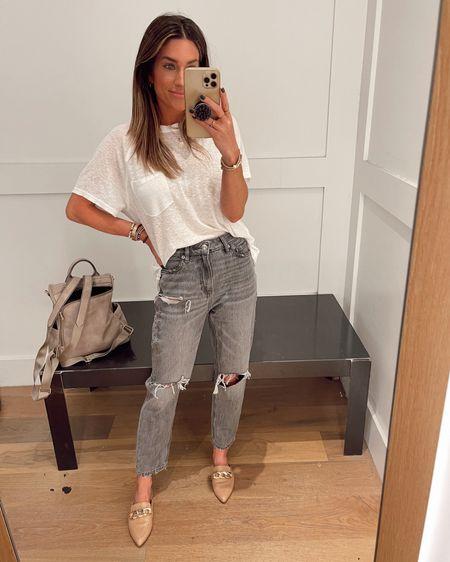 Size xs in tee.  Jeans are 00 short Code JEN15 on these mules.     http://liketk.it/3jJwI @liketoknow.it #liketkit #LTKshoecrush #LTKstyletip