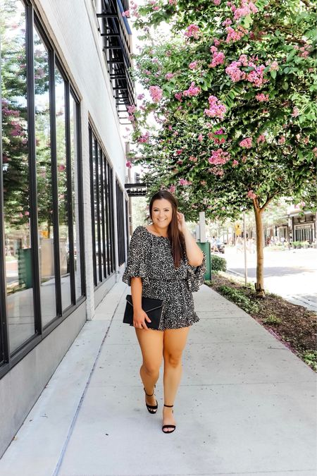 """I've said it a dozen times but I love a romper. It's just so easy being a mom and being on the go. I love the sleeves of this one- I got it from Mason Jar Boutique and you can use my code """"PEDALINGPA10"""" for a discount off your order!  I paired it with this clutch I've been obsessing over and my go-to black sandals!    #LTKunder50 #LTKSeasonal #LTKwedding"""