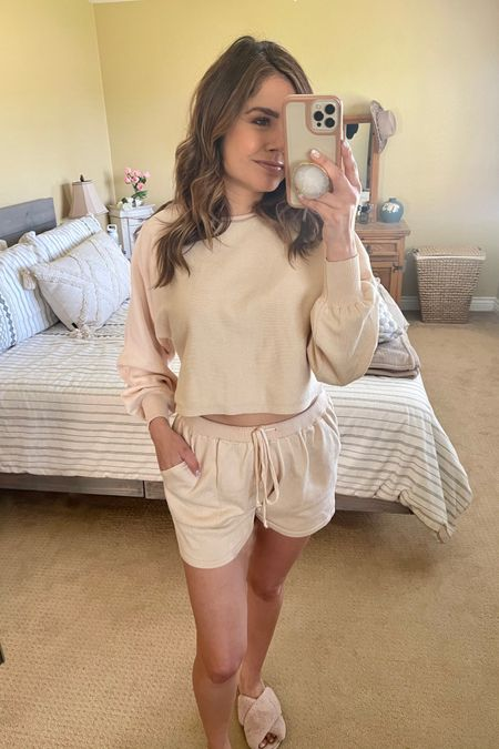 This shorts lounge set from Amazon is comfy and love the neutral color. I linked it and my fluffy slippers   @liketoknow.it http://liketk.it/3ci3D #liketkit #LTKSpringSale #LTKstyletip #LTKunder50