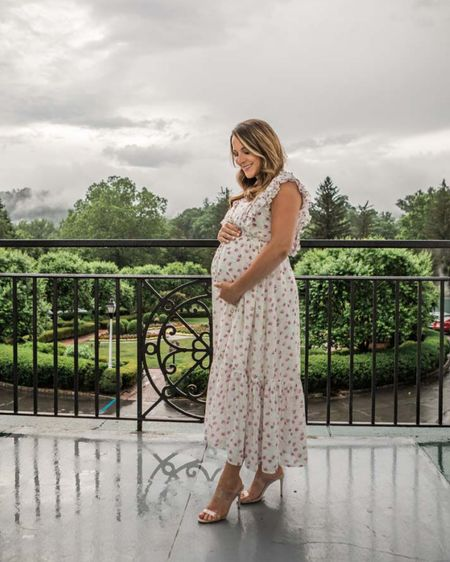 Maternity dress Maxi dress Floral maxi Clear heels Clear sandals Baby shower Bridal shower Newborn photos Maternity photos Pregnant White dress White maxi  http://liketk.it/3iBAP #liketkit @liketoknow.it #LTKbump #LTKsalealert #LTKbaby @liketoknow.it.family
