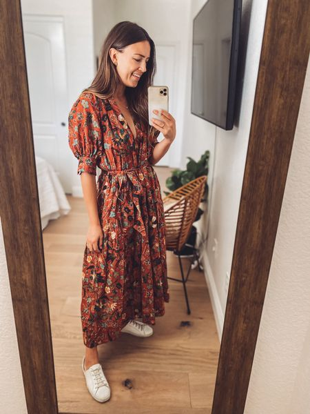 First Ulla Johnson dress and I'm in love 💛 This colorway is Mesa Floral and it's sold out but I linked the same dress in other colors, and another Ulla dress in a more similar color to this one.   Get 15% off the shoes (handmade from a small female owned business!) with NATALIEB15