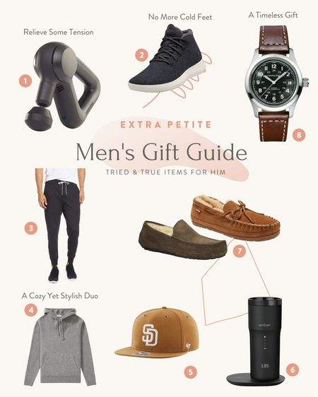 Holiday gift ideas for your husband, boyfriend, father or son   1. Theragun percussive massager 2. Allbirds Mizzle wool sneakers 3. Joggers - Vuori and Lululemon are both highly recommended by readers! 4.Everlane soft pocket sweater hoodie 5. 47Brand baseball cap 6. Ember travel mug 7. Slippers - L.L.Bean and Ugg are cozy options 8. A Hamilton watch  #LTKmens #LTKGiftGuide #LTKHoliday