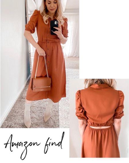 Puff Sleeve Dress, Tan Booties, Strathberry Bag, Fall Outfit Idea  #LTKshoecrush #LTKSeasonal #LTKunder100