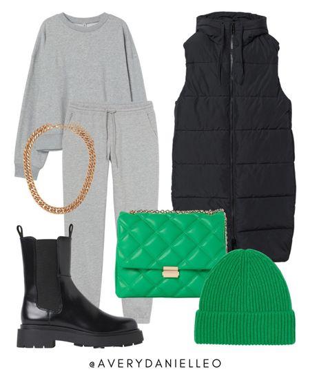 H&M NEW ARRIVALS - gray sweats, matching set, puffer vest, green, combat boots  #LTKshoecrush #LTKstyletip #LTKSeasonal