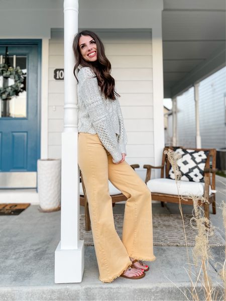 Yellow high waisted flares | Pilcro Jeans | Anthropology | sandals | spring outfit  #LTKstyletip #LTKSeasonal #LTKSpringSale
