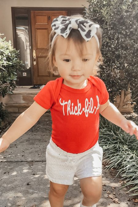 Thick fil a 🐓 Found some cute chic fil a onesies and cow print headbands on Etsy!   #LTKkids #LTKbaby #LTKfamily