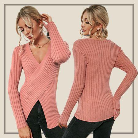 Ribbed knit split front sweater   #LTKunder50 #LTKstyletip