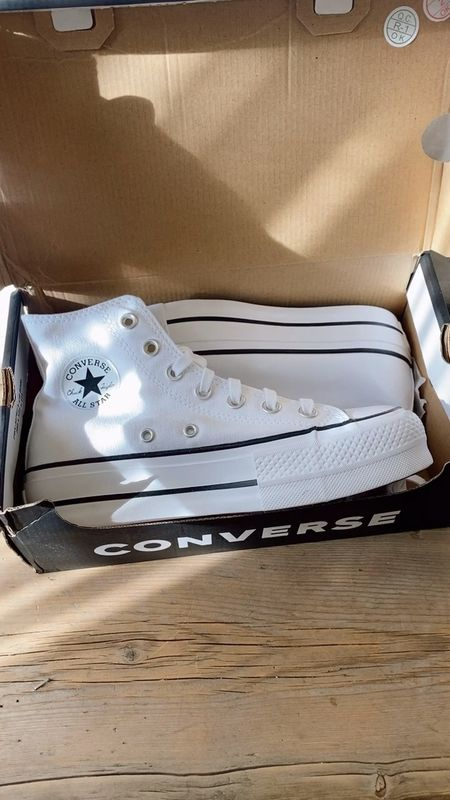High top converse - white sneakers!   Some reviews say to size half down, I personally got my true size (6) and they fit perfectly.   Linked at DSW & Nordstrom. They sell out and come in and out of stock.   #LTKunder100 #LTKshoecrush #LTKstyletip