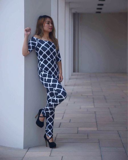 Prints on jumpsuit elongates my figure. This stylish casual go to look is fabulous for any getaway. Monochromatic and basic.  #LTKtravel #LTKshoecrush #LTKstyletip