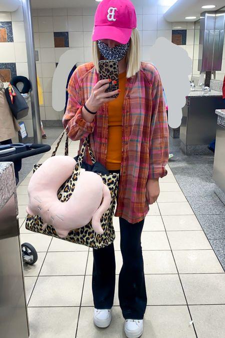 Pink plaid shirt (XS) Summer daydream plaid shirt Flare leg pants (XS short) Airport outfit, travel style Marc Jacob Leopard travel tote   #LTKtravel