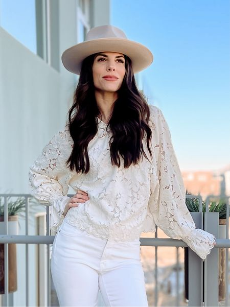 Spring Outfit | spring fashion | white Jeans | madewell | Gigi Pip Hat | wide brim hat | Free People | Target Finds #LTKwomens #LTKfashion #LTKstyle   Shop my daily looks by following me on the LIKEtoKNOW.it shopping app.   #LTKstyletip #LTKunder100 #LTKSeasonal