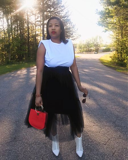 Tulle, black & white, a pop of red, and my white boots are a few of my favorite things! I have been having so much fun putting outfits together... things I haven't ever put together before. It's a nice temporary distraction. What have you all been doing to keep yourselves busy? Let me know! #ootd #mystyle #midiskirt #tulle #lotd #alldressesupandnowheretogo #wumuchallenge # http://liketk.it/2MKlk #liketkit @liketoknow.it  You can now shop my daily looks by following me on the LIKEtoKNOW.it shopping app