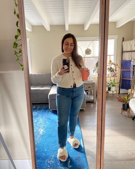 Cozy fall weekend vibes in a cardigan, jeans, and slippers at home!  #LTKunder50 #LTKhome #LTKcurves