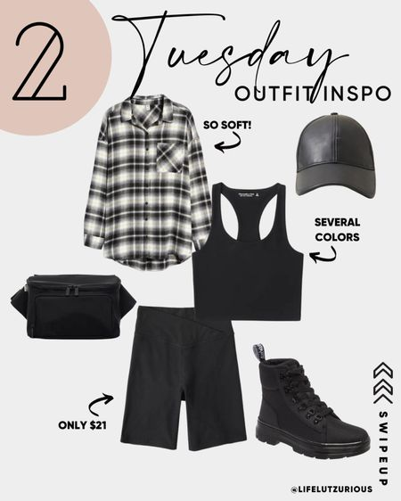 Tuesday Outfit Inspiration - Fall Outfit Ideas, Shacket outfit, biker shorts outfit, combat boots, leather cap, belt bag, trending for fall  #LTKSeasonal #LTKstyletip