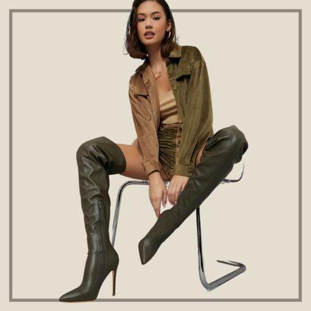Green thigh high stiletto boots from Shein   #LTKshoecrush #LTKstyletip #LTKunder50