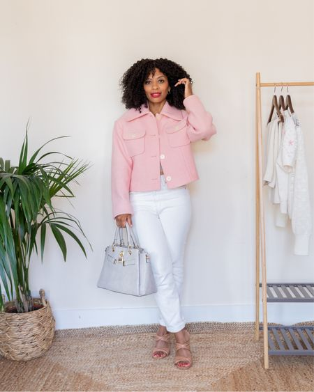 Pink wool jacket and white jeans. This cropped jacket from Other Stories looks amazing on a petite frame.  #LTKstyletip #LTKeurope #LTKSeasonal