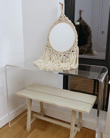 — VANITY SET-UP Macrame mirror — Target Acrylic table — CB2 Wooden bench — TJ Maxx  http://liketk.it/36PSI #liketkit @liketoknow.it