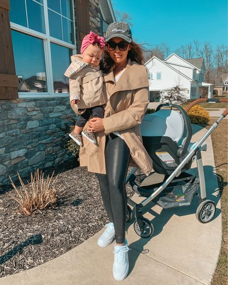 Trench coat outfit. Fall outfit. Mom style. Spanx faux leather leggings. Matching family. Baby girl fashion. Mommy and me. Uppababy car seat and stroller. Toddler girl fashion. Mama and me look. Family matching. Fall style. Nordstrom sale.   #LTKsalealert #LTKfamily #LTKbaby