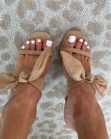 Suede bow sandals on sale size 7 http://liketk.it/3hqOA #liketkit @liketoknow.it #LTKunder100 #LTKsalealert #LTKshoecrush