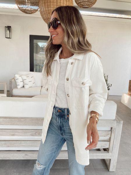 White shirt jacket; 20-25% off, comes in 2 other colors. I went down a size   #LTKunder100 #LTKstyletip #LTKsalealert