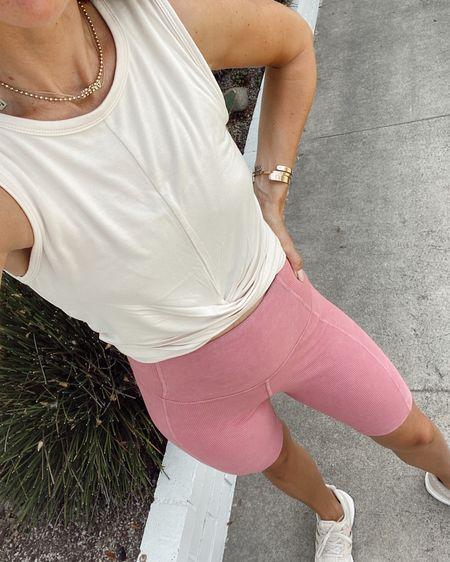 Pink ribbed biker shorts + twist front crop for this morning's run… biker shorts have a back pocket for your key. Great summer workout pieces // Nordstrom sale   #LTKfit #LTKunder50 #LTKsalealert