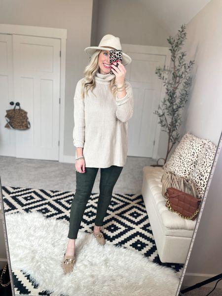 Walmart tunic sweater - medium  Spanx faux suede leggings- medium     #LTKstyletip #LTKunder50 #LTKSeasonal