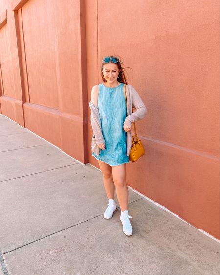 Denim dress from target Target yellow crossbody bag  Blue prescription sunglasses All white converse Cream cardigan  http://liketk.it/37dKk #liketkit @liketoknow.it #LTKunder50 #LTKshoecrush #LTKstyletip