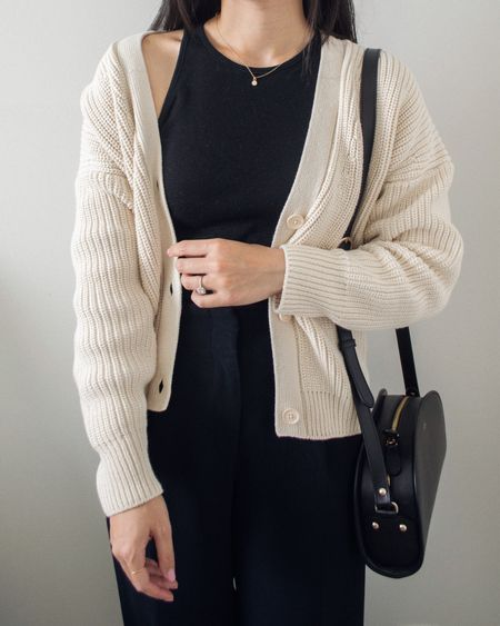 Can't go wrong with a monochrome black base paired with a gently oversized cardigan. I love the minimal aesthetic of this look and how it's just so easy to throw together.   #LTKunder50 #LTKstyletip #LTKSeasonal
