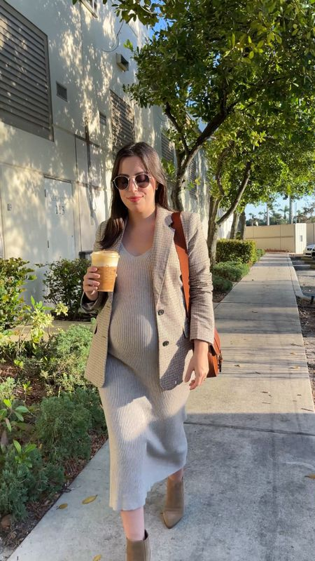 Favorite fall outfit: midi ribbed dress and plaid blazer! Great for maternity as well    #LTKSeasonal #LTKunder50 #LTKbump