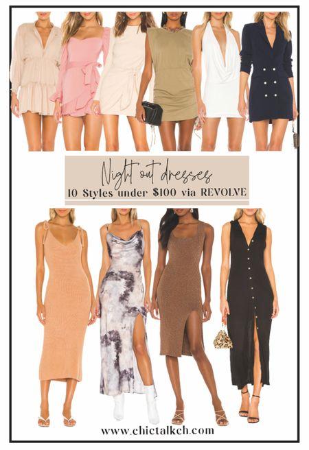 Current favorite dresses under $100 via Revolve! Body con dress, midi dress, summer dress, mini dress, neutral tone dress, chic dresses  #LTKstyletip #LTKtravel #LTKunder100