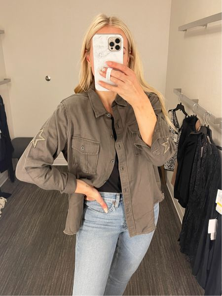 Fall ready in this star embroidered military twill shirt jacket! Snag it while it's on sale! Fits true to size.  : : : : Nordstrom sale - shacket - fall jacket - casual jacket - fall jeans - high waist crop jeans - cropped denim - NSALE denim - re/done   #LTKsalealert #LTKstyletip