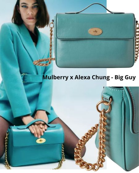 MULBERRY x ALEXA CHUNG  A Collaboration of handbags with a touch of vintage style.   This Big Guy Bag comes in four colors  Black patent/ Dark Chocolate Shiny Croc/ Denim Blue Tumbled Patent / Tan & Black Suede & Patent.   #Alexachung #mulberrybags   #LTKeurope #LTKstyletip #LTKitbag
