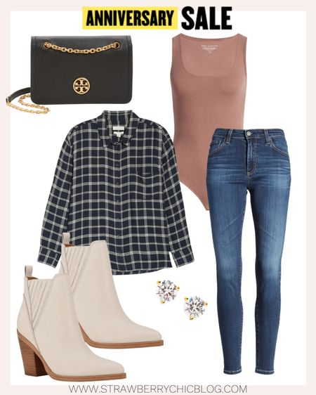 Layer a button down shirt with a bodysuit and denim jeans for a casual look.   #LTKstyletip #LTKSeasonal #LTKsalealert