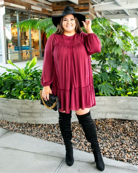 Who else loves dresses with OTK boots?! This dress is under $40 and comes in the most gorgeous olive green color too. Head over to IG stories to see how I style it for warmer weather too! @walmartfashion @walmart #walmartfashion #walmart #ad #sweaterweather #fallfashion #otkboots #plussizefashion #plussizestyle #plussize #affordablefashion #curvyfashion   #LTKcurves #LTKunder50 #LTKstyletip