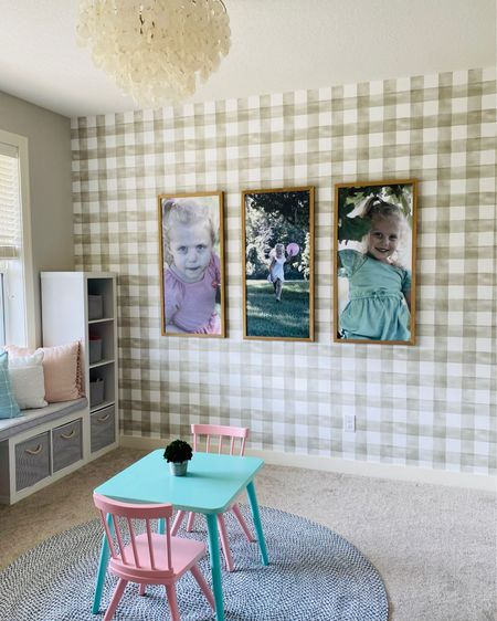 Simple and sweet girl's playroom! The wallpaper and light fixture really make a statement in this room! http://liketk.it/2XZlB #liketkit @liketoknow.it #LTKhome @liketoknow.it.home You can instantly shop all of my looks by following me on the LIKEtoKNOW.it shopping app