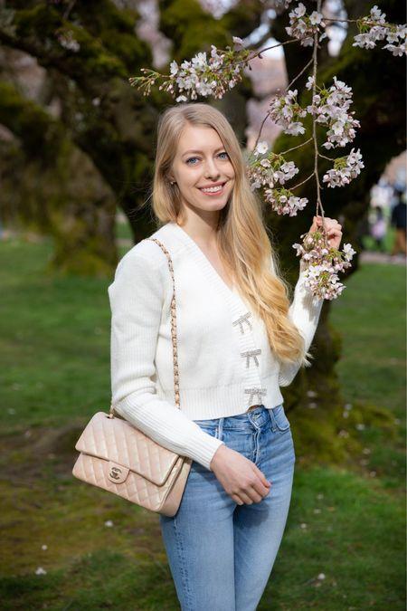 Spring sweater white with rhinestone bow buttons    #LTKunder100 #LTKSpringSale #LTKstyletip