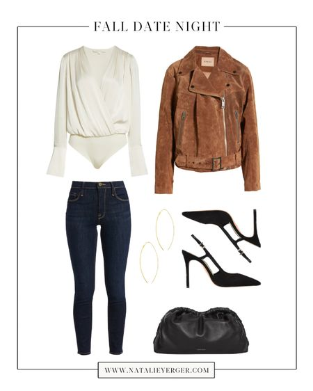 """An easy back pocket fall date night outfit for when you have """"nothing to wear."""" This satin blouse bodysuit brand is new to me—love the sleeve style, and it also comes in black! Skinny jeans run TTS. 🍂 For five more fall date night outfit ideas, head to today's blog post on natalieyerger.com!  #falldatenight #falldatenightoutfits #datenightfall #datenightoutfits #datenightoutfitsfall #satinblouse #darkjeans #darkwashjeans #skinnyjeans"""
