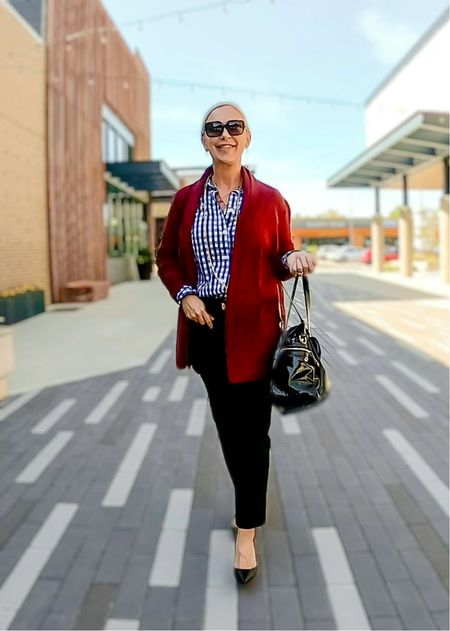 Street Look / Blazer Look / Work Blazer / Workwear / Work Wear / Office Look / Office Outfit / Business Casual / Office Casual / Work Outfit / Tory Burch / Kate Spade /  Coach Handbags / Handbag /petite / over 40 / over 50 / over 60 / Fall Outfit / Fall Fashion    #LTKworkwear #LTKSeasonal #LTKitbag