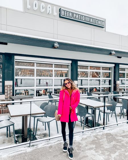 Happy Snowy Sunday! ❄️💗❄️ Spent the afternoon checking out the new @localbeerco @village_pointe and let me tell you, I think I found my new spot! Delicious Bloody Mary's ✔️ tasty hummus + veggie plate ✔️and tons of tvs for Sunday 🏈 football ✔️ Thanks so much for having us! 🙌🏻 - - In outfit news, my leggings & cozy Sherpa hoodie are on sale! And if you haven't bought these wedge sneaker boots, you must. I legit wear 'em at least 4x a week! 🖤 Click the link in my bio to shop! http://liketk.it/2IcpG @liketoknow.it #liketkit