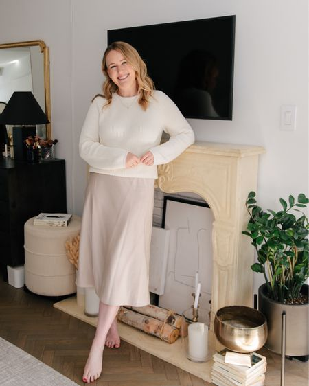 At home in a neutral cotton sweater from Jenni kayne (M) and Amazon Fashion The Drop slip skirt (M) @liketoknow.it http://liketk.it/3h0ij #liketkit